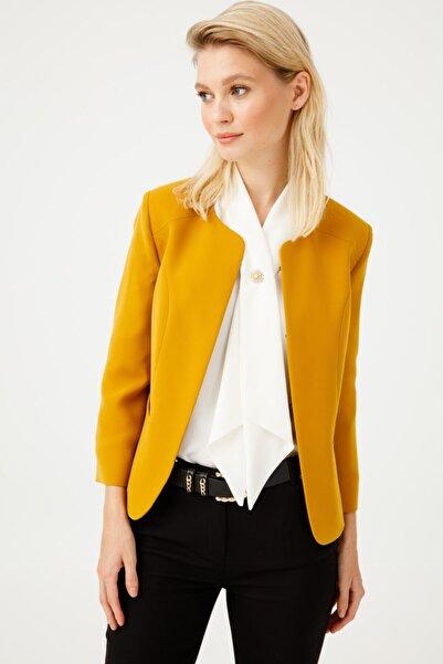 Ekol Kadın Hardal Oval Yaka Ceket