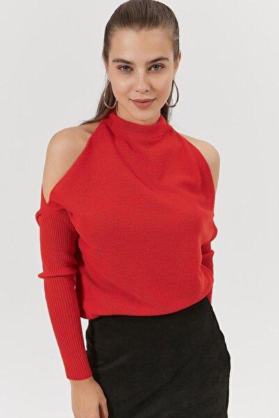 Y-London Kadın Kırmızı Omzu Açık Triko Kazak Y20W186-4003