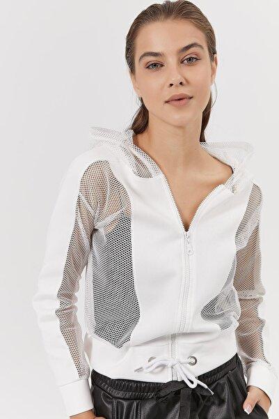 Y-London Kadın Beyaz Fileli Dalkıç Kumaş Fermuarlı Hırka Y20W185-1293