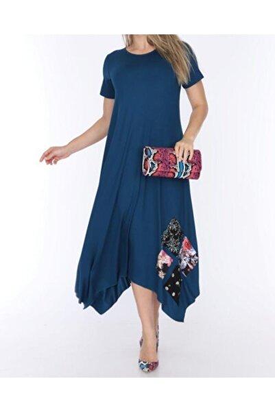 Mezura Kadın Turkuaz Asimetrik Kesim Elbise