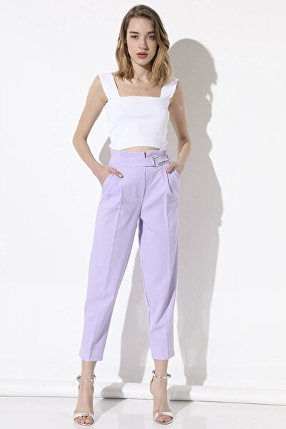 Arma Life Kadın Lila Tokalı Kumaş Pantolon