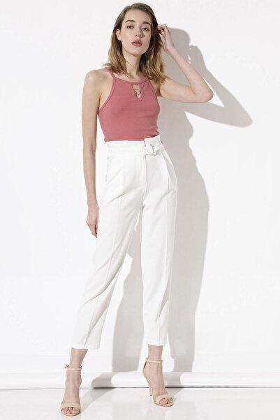 Arma Life Kadın Ekru Tokalı Kumaş Pantolon