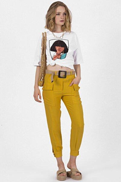 Arma Life Kadın Hardal Paçası Düğme Detaylı Keten Pantolon