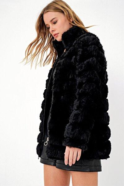 Trend Alaçatı Stili Kadın Siyah Peluş Suni Kürk Ceket ALC-X3037