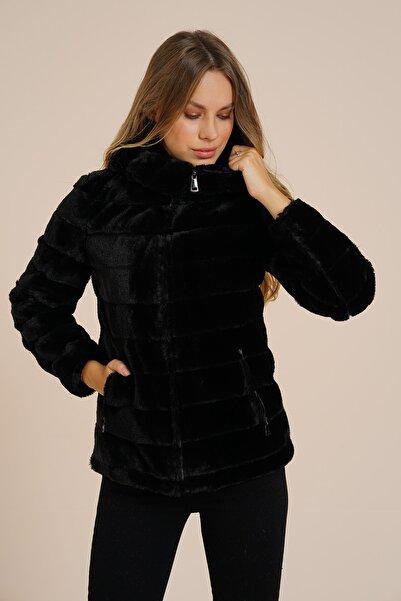 Markosin Kadın Siyah Petunya Toscana Suni Kürk Peluş Ceket Tos1010jk