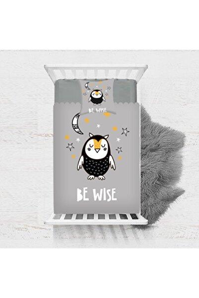 Osso Halı Osso Siyah Beyaz Sevimli Baykuş Desenli Dekoratif Çocuk Yatak Örtüsü 140x170cm