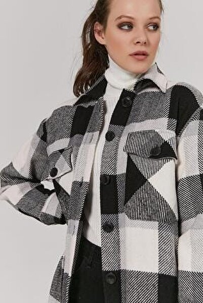Kadın Siyah Gri Desenli Oversize Oduncu Gömlek P20W-3336