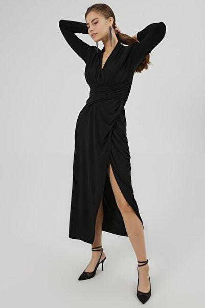 Y-London Kadın Siyah Vatkalı Yırtmaçlı Jarse Uzun Kollu Elbise Y20W180-6555