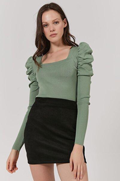 Y-London Kadın Mint Yeşili Kare Yaka Kolları Büzgülü Triko Bluz Y20W192-2212