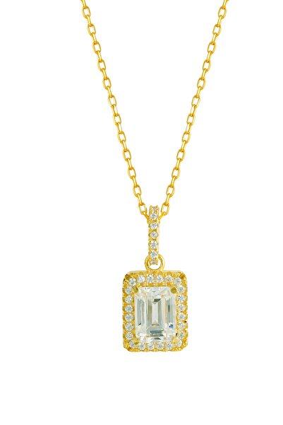 Afrodit Silver Baget Taşlı Sarı Gümüş Kadın Kolye