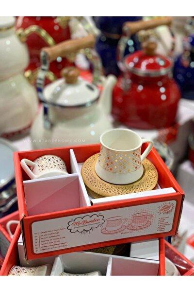 Bambum Bamwood 2 Kişilik Altın Desenli Kahve Fincan Takımı Tabaklar Yakma Desenli