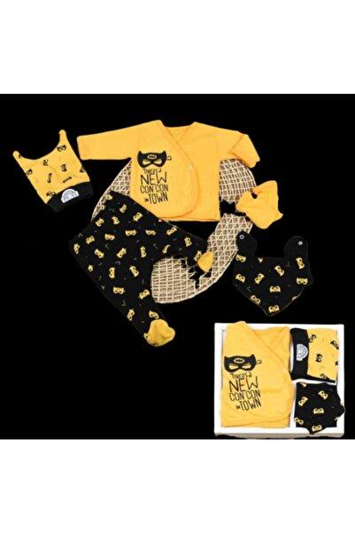 Donino Baby Concon Baby Batman Desenli Hastane Çıkış Seti 5 Parça Sarı -siyah