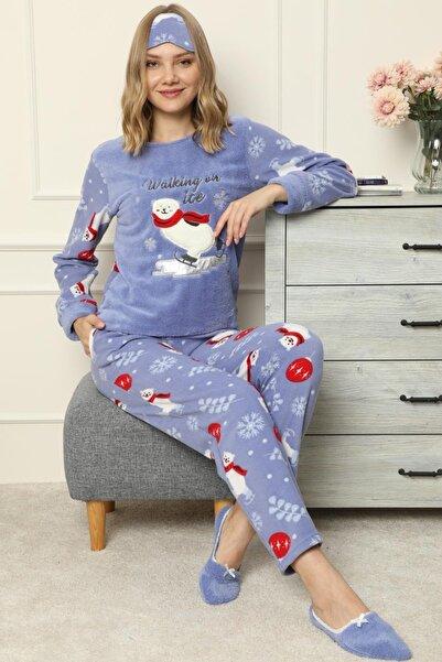 Pijamaevi Walking Desenli Kadın Peluş Pijama Takımı