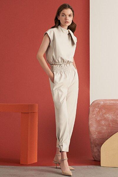 Nocturne Kadın Taş Rengi Paçası Çıtçıtlı Deri Pantolon Kadın N21k-3315