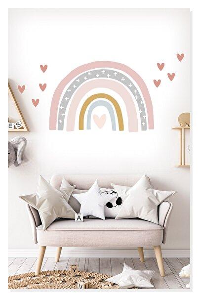 Sticker Sepetim Kalpler Ve Soft Renkli Gökkuşağı Çocuk Odası Duvar Sticker