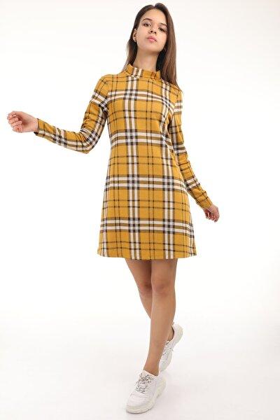 MD trend Kadın Hardal Dik Yaka Ekose Desenli Elbise