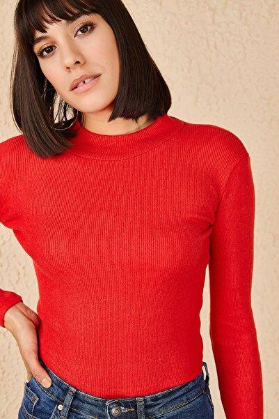 Bianco Lucci Kadın Kırmızı Likralı Kaşkorse Şardonlu Yarım Balıkçı Bluz 10171041