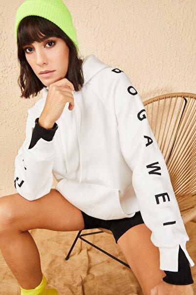 Bianco Lucci Kadın Beyaz İkili Manşet İçi Pamuklu 3 İplk Sweatshirt 10171012