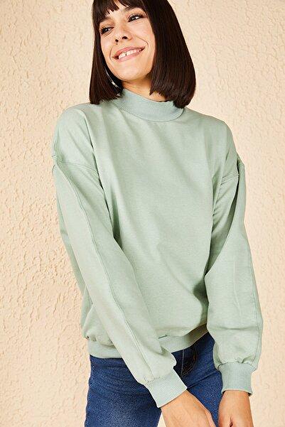 Bianco Lucci Kadın Mint Yeşili Yarım Balıkçı Sweatshirt 10161066