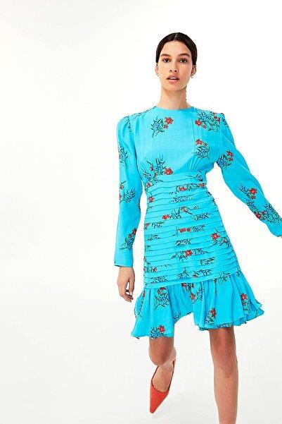 Twist Kadın Mavi Çiçek Desen Elbise TW6200002143