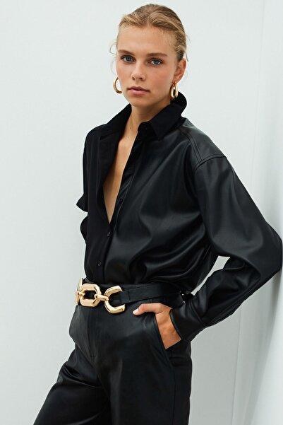 İpekyol Kadın Siyah Deri Mixli Gömlek IW6200025117
