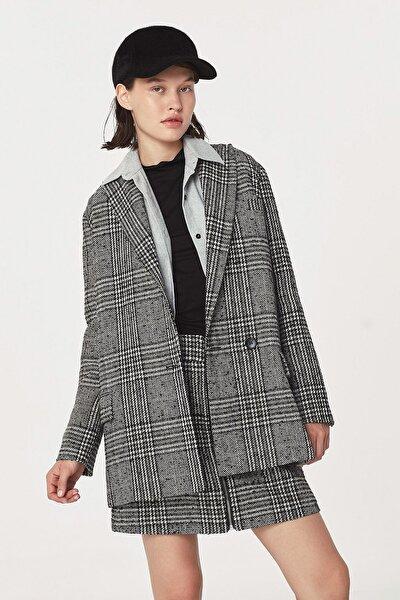 Twist Kadın Siyah Kazayağı Desen Ceket TW6200005106