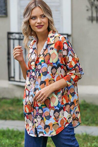 Chiccy Kadın Kiremit Retro Face Baskılı Cep Detaylı Salaş Gömlek M10010400GM99486
