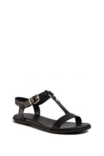 Tommy Hilfiger Kadın Siyah Feminine Leather Flat Sandalet Fw0fw04882