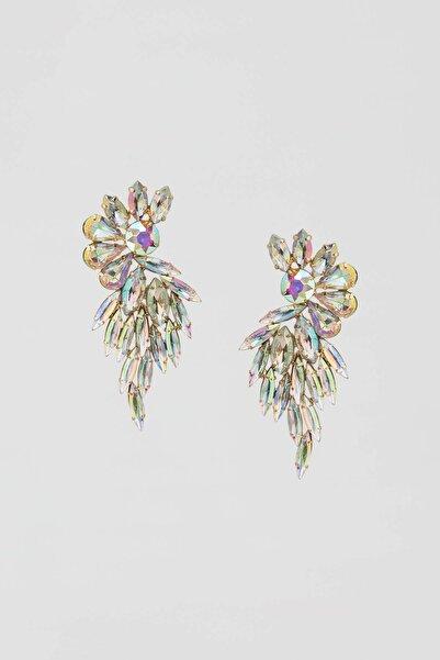 Pull & Bear Kadın Altın Rengi Yanardöner Taşlı Çiçek Küpe 09996369
