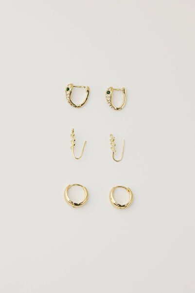 Pull & Bear Kadın Altın Rengi 3'Lü Dal Ve Yılan Motifli Küpe Seti 09996352