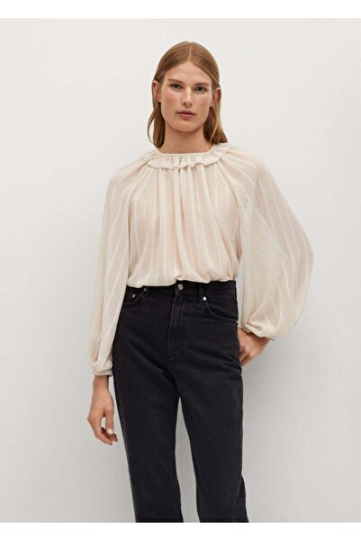 MANGO Woman Kadın Ekru Bluz