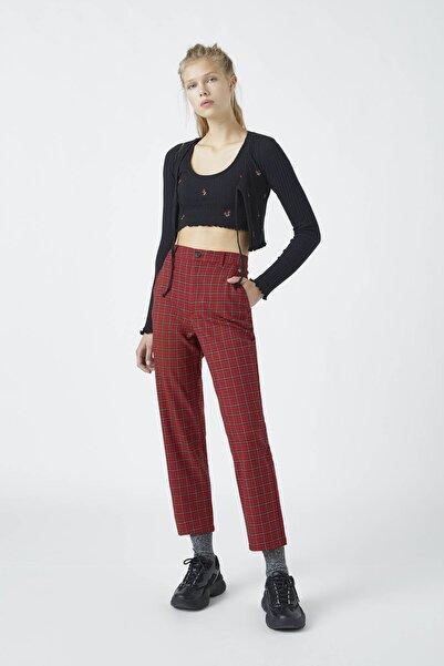 Pull & Bear Kadın Koyu Kırmızı Kırmızı Kareli Pantolon 09678331