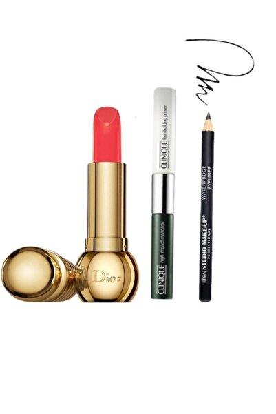 Clinique High Impact Maskara & Primer 2 Ml + Dior Mat 540 Magique Ruj + Tca Make Up Eyeliner