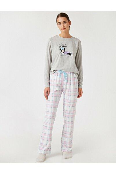 Koton Kadın Gri Disney Lisanslı Pijama Takımı