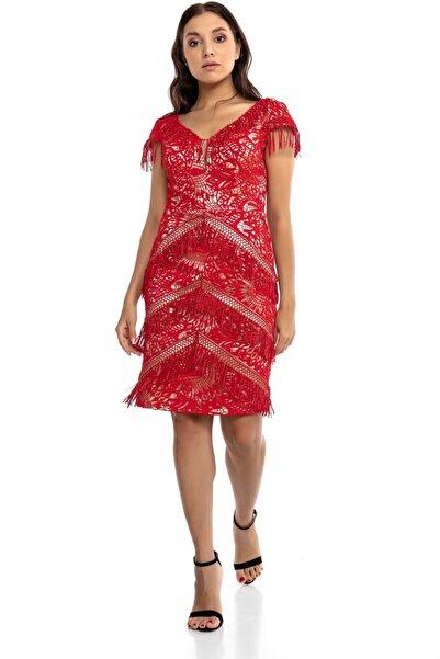 Abiye Sarayı Kadın Kırmızı Püskül Detaylı V Yaka Kısa Elbise