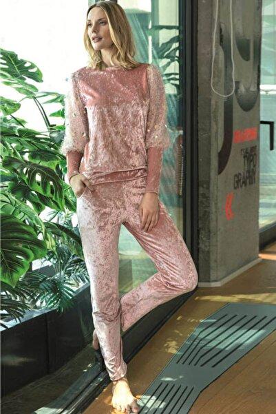 Anıl Kadın Somon Kırçıllı Payet Detaylı Pijama Takımı 9665