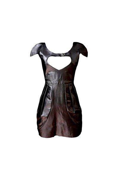 Bashaques Siyah Deri Kadın Elbise