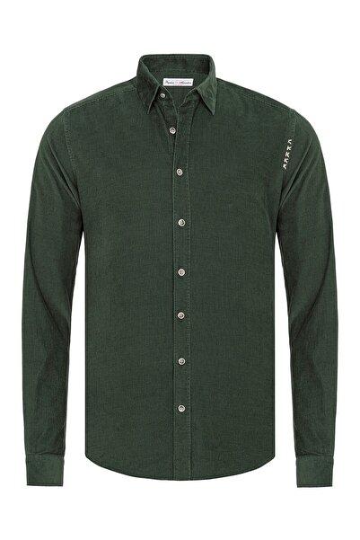 Paşahan Kadın Yeşil Kadife Slim Fit Gömlek