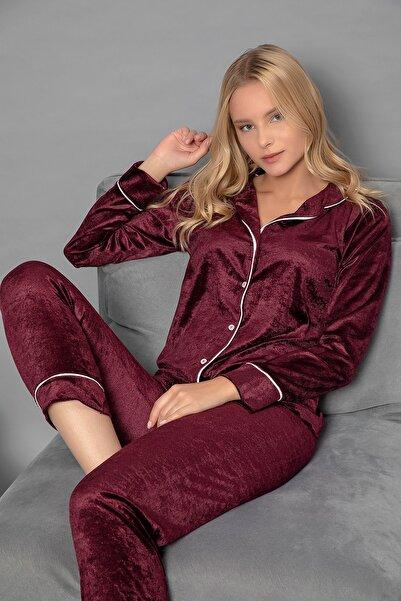 ELİTOL Düğmeli Kadife Pijama Takım