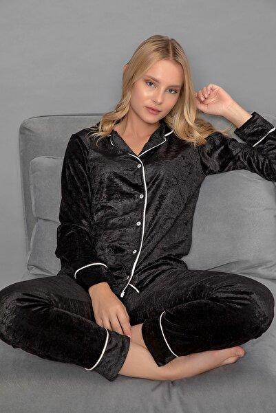 ELİTOL Kadın Siyah Düğmeli Kadife Pijama Takım