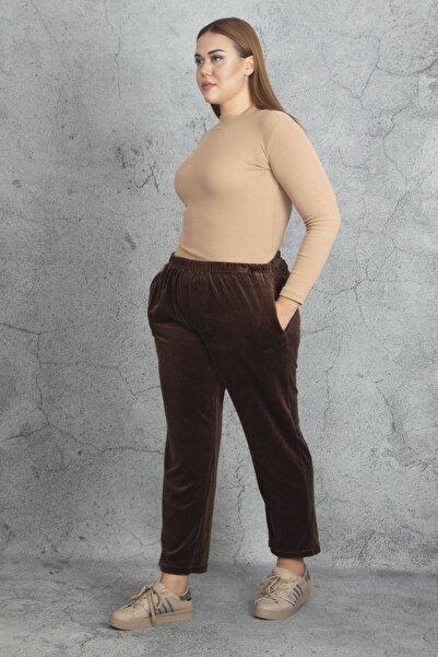 Şans Kadın Kahve Kadife Kumaş Bel Kısmı Lastikli Spor Pantolon 65N19870