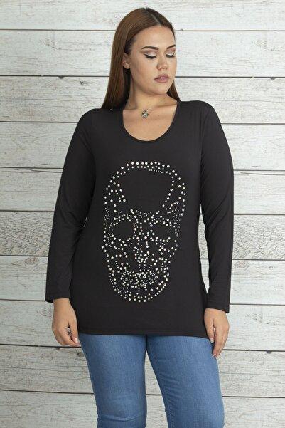 Şans Kadın Siyah Taş Detaylı Bluz 65N19743