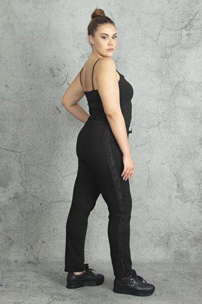 Şans Kadın Siyah Yanları Dantel Detaylı Bel Kısmı Bağcıklı Spor Pantolon 65N19842
