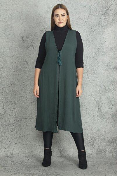 Şans Kadın Yeşil Önü Bağcık Detaylı Astarsız Uzun Yelek 65N19823