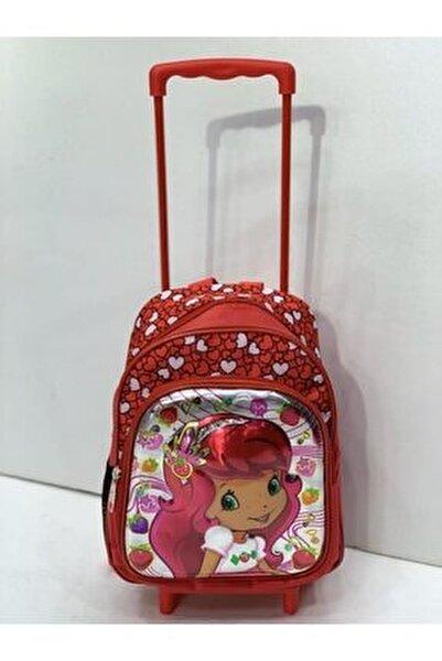 Anaokulu Çekçekli Çanta Çilek Kız Çekçeği Ayrılabilen 2 Gözlü