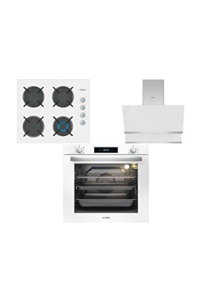 Simfer XXL 80 LT Beyaz Dijital Ankastre Cam Set (3507 - 8668 - 7382)