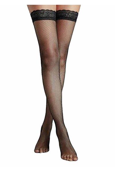 Penti Kadın Siyah İnce File Jartiyer Çorabı