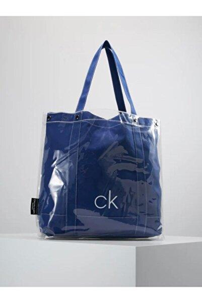 Calvin Klein Kadın Mavi Transparent Beach Tote Omuz Çanta