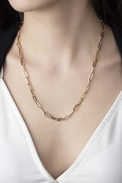 Poyraz Jewellery Altın Kadın Sarı Italyan Sade Ataç 14 Ayar Altın Kolye
