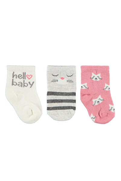 Civil Baby Kız Bebek 3'lü Çorap Set 0-24 Ay Yavruağzı